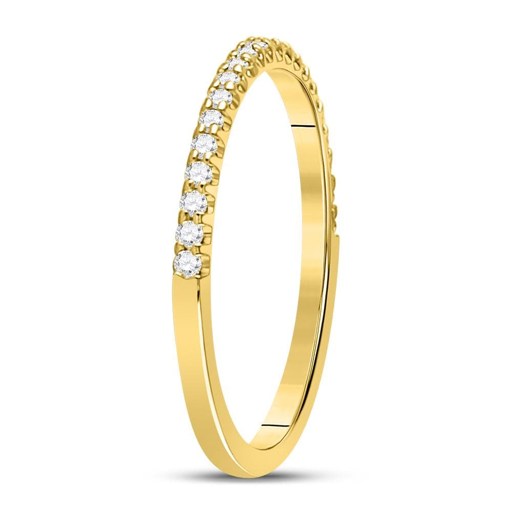 14kt Yellow Gold Womens Round Diamond Single Row Wedding Band 1/5 Cttw