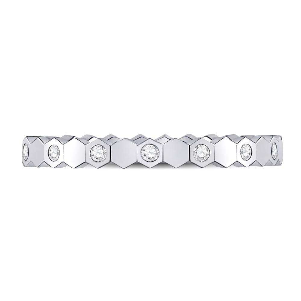 14kt White Gold Womens Round Diamond Jagged Edge Band Ring 1/8 Cttw