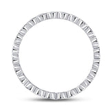 14kt White Gold Womens Diamond Rounded Edge Band Ring 1/5 Cttw