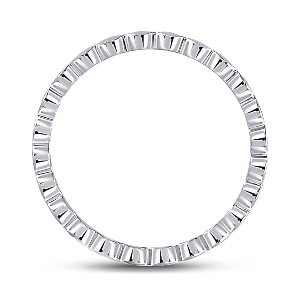 14kt White Gold Womens Diamond Rounded Edge Band Ring 1/10 Cttw