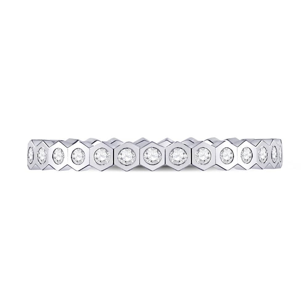 14kt White Gold Womens Round Diamond Band Ring 1/4 Cttw