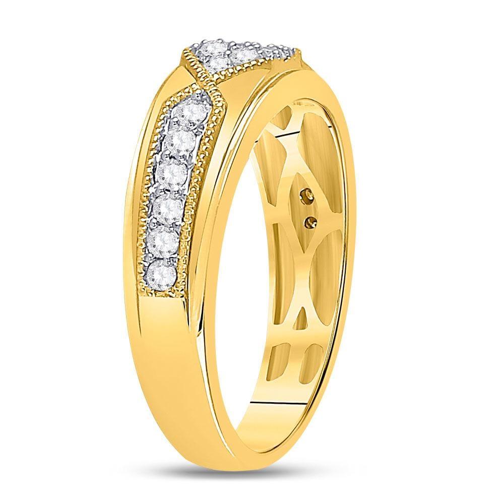 14kt Yellow Gold Mens Round Diamond Milgrain Wedding Band Ring 1/2 Cttw