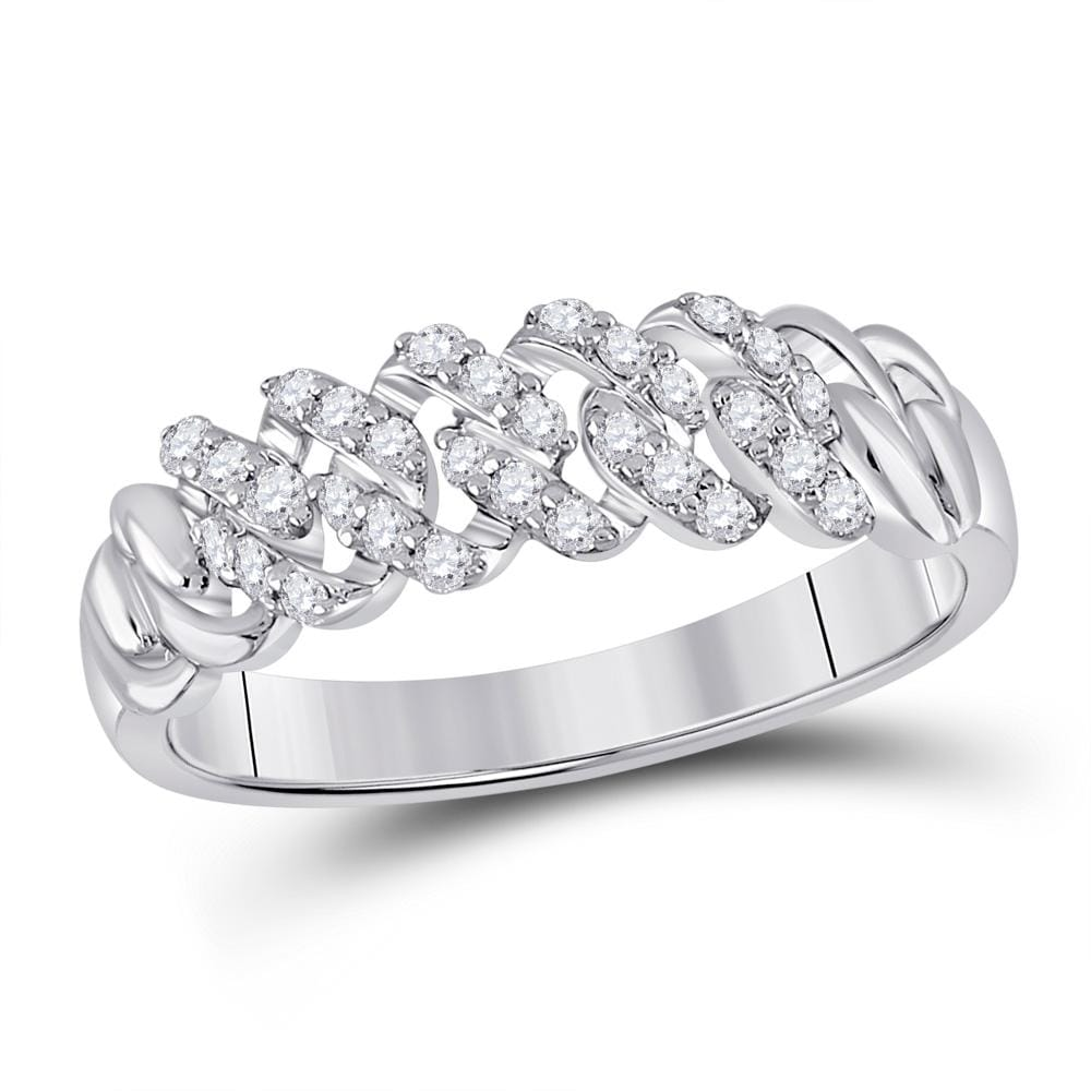 10kt White Gold Mens Round Diamond Band Ring 3/8 Cttw
