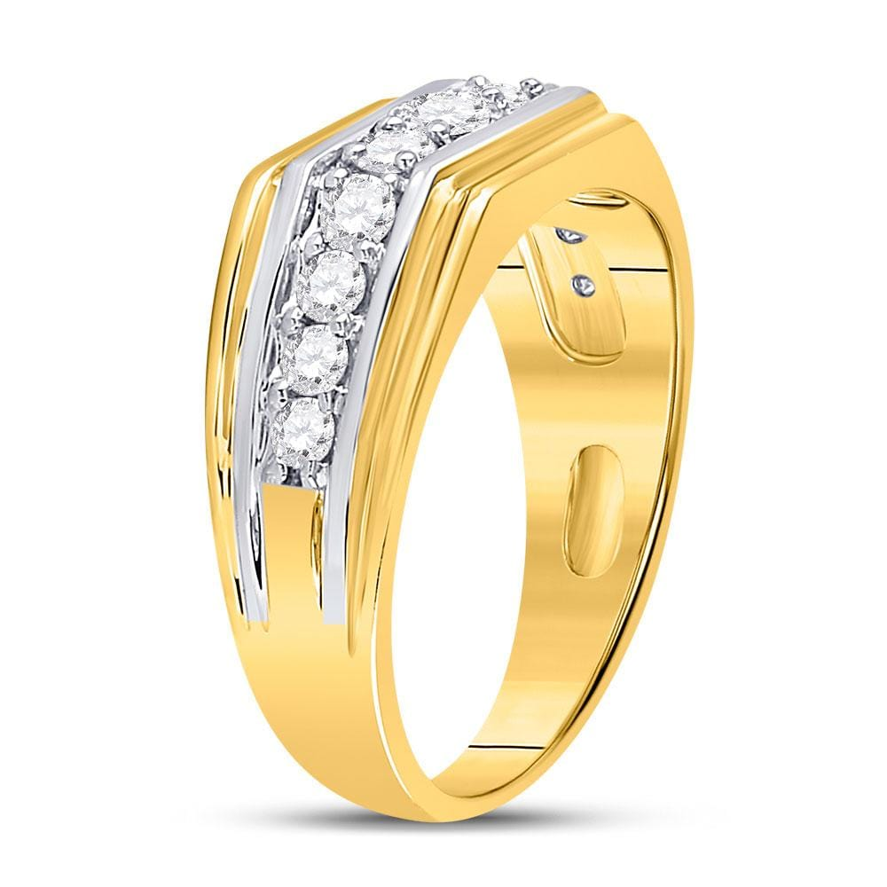 10kt Two-tone Gold Mens Round Diamond Graduated Band Ring 1 Cttw