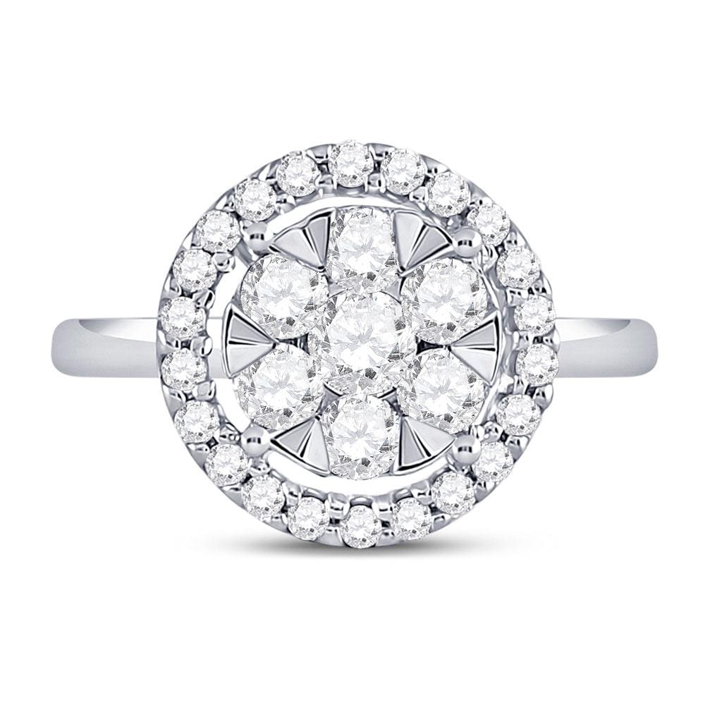 14kt White Gold Womens Round Diamond Flower Cluster Ring 7/8 Cttw