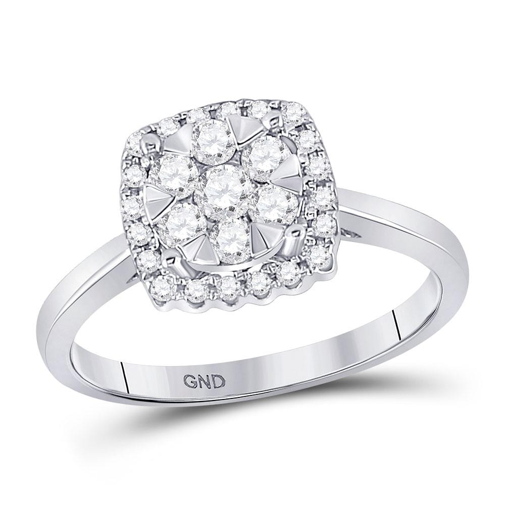10kt White Gold Womens Round Diamond Square Frame Flower Cluster Ring 1/2 Cttw