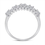 14kt White Gold Womens Round Diamond Triple Row Band Ring 1.00 Cttw