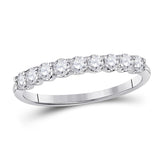 14kt White Gold Womens Round Diamond Anniversary Wedding Band 1/2 Cttw
