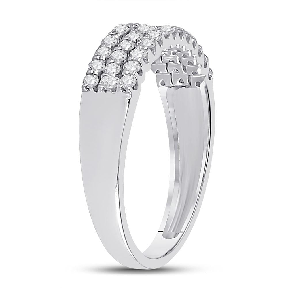 14kt White Gold Womens Round Diamond Classic Anniversary Ring 1/2 Cttw