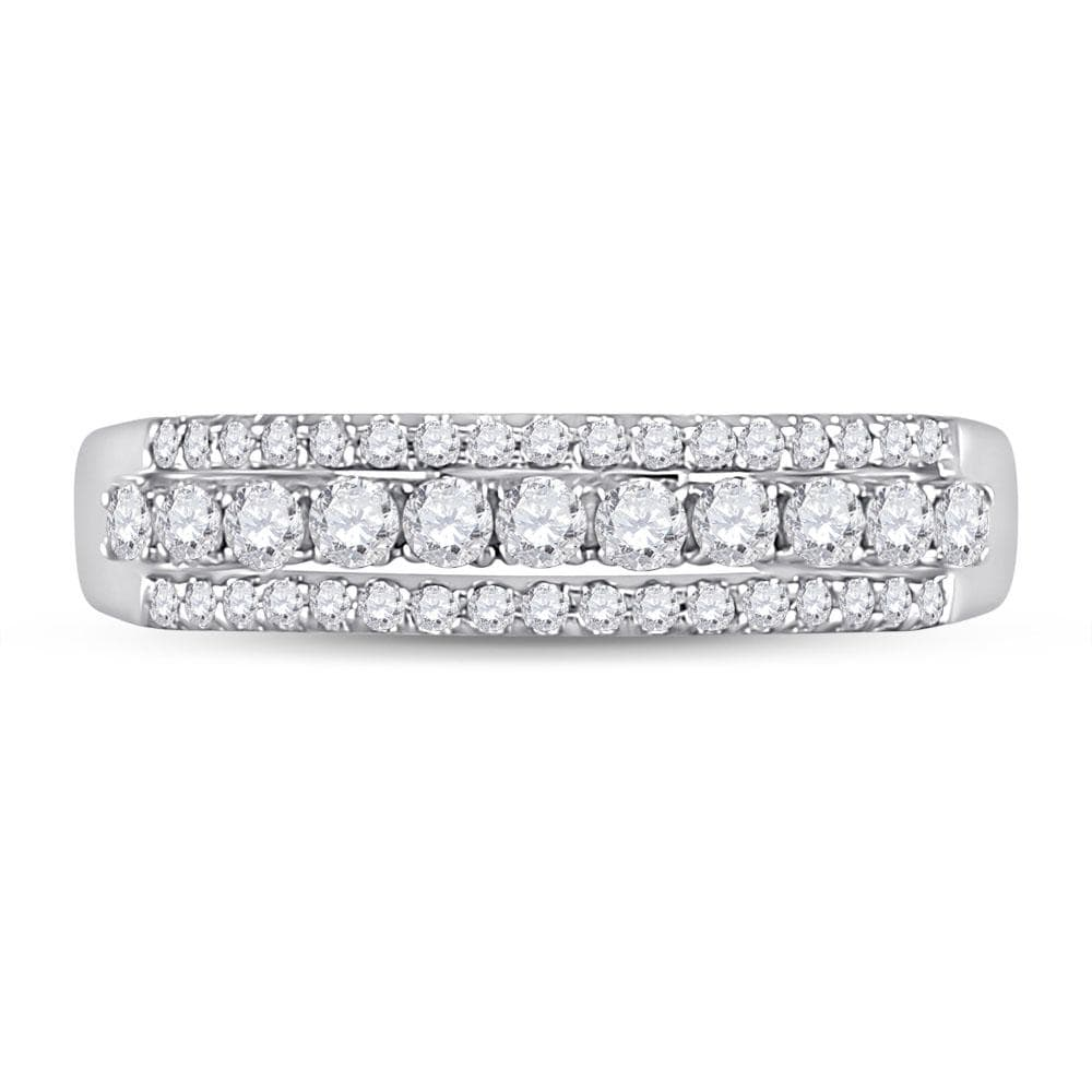 14kt White Gold Womens Round Diamond Triple Row Band Ring 1/2 Cttw