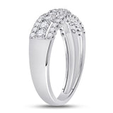 14kt White Gold Womens Round Diamond Classic Anniversary Band Ring 3/4 Cttw