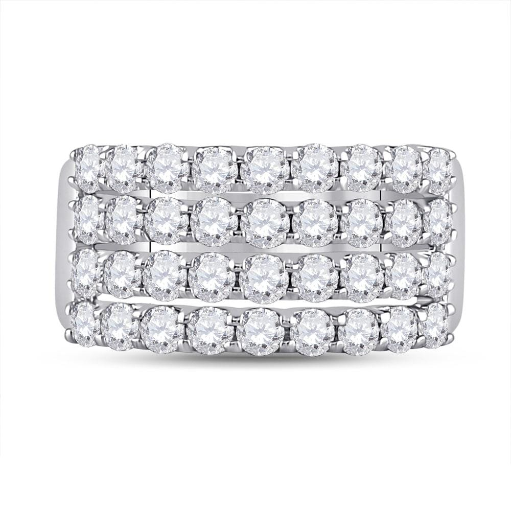 14kt White Gold Womens Round Diamond Four Row Band Ring 2.00 Cttw