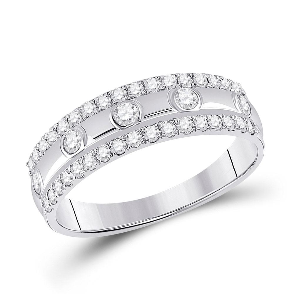 10kt White Gold Womens Round Diamond Anniversary Ring 1/2 Cttw