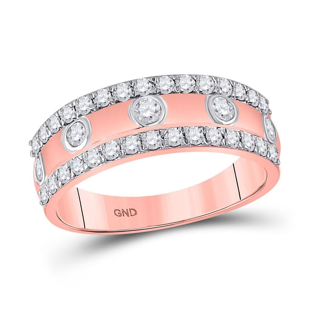 10kt Rose Gold Womens Round Diamond Anniversary Ring 3/4 Cttw