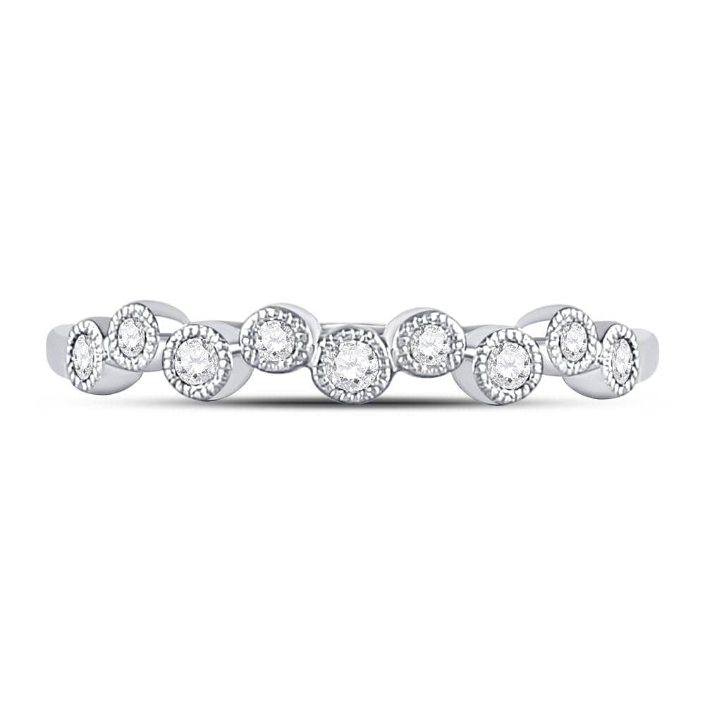 10kt White Gold Womens Round Diamond Single Row Dot Band Ring 1/6 Cttw