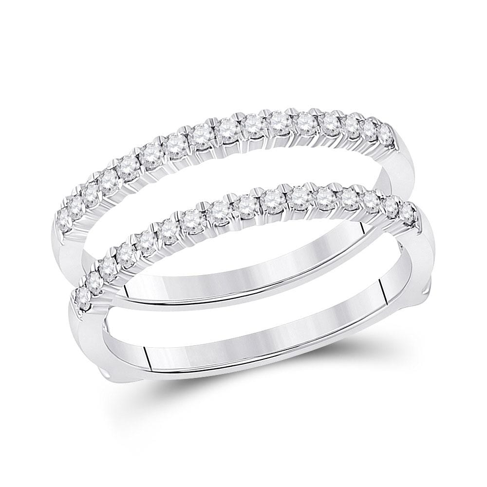 14kt White Gold Womens Round Diamond Wrap Ring Guard Enhancer 3/8 Cttw