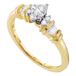 10kt Yellow Gold Womens Marquise Diamond Solitaire Promise Bridal Ring 1/5 Cttw