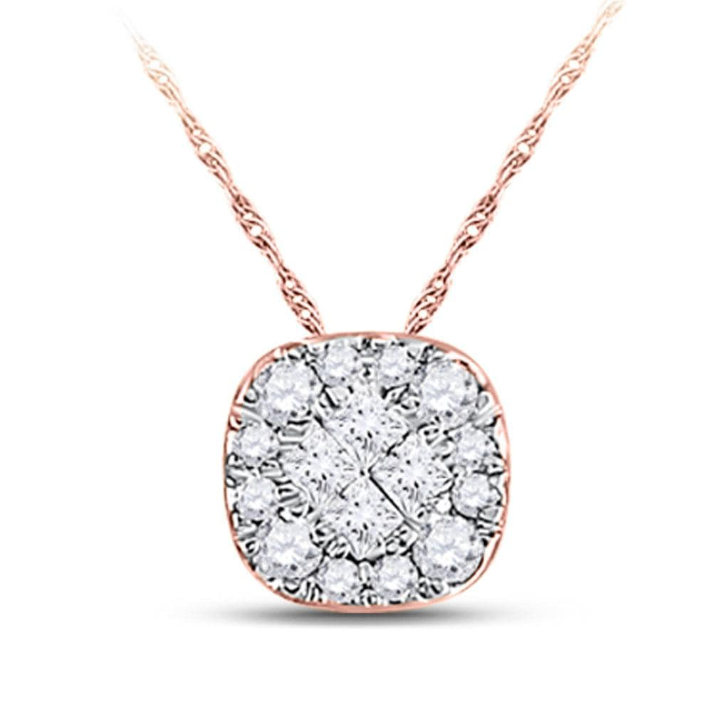 14kt Rose Gold Womens Princess Diamond Square Pendant 1/4 Cttw
