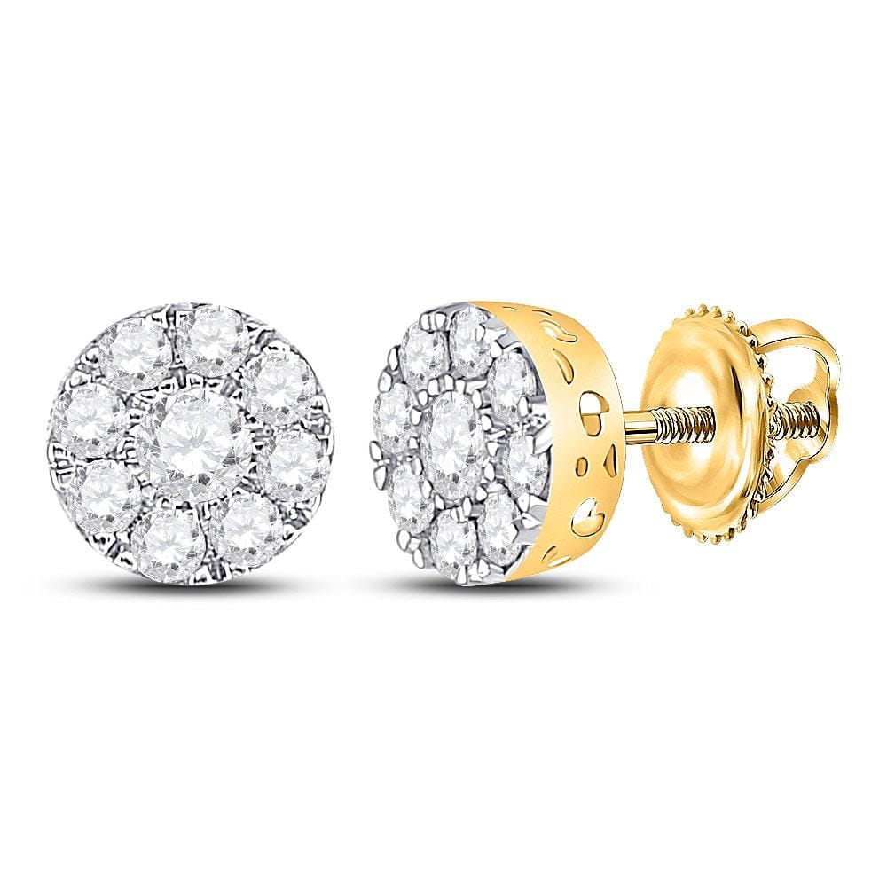 10kt Yellow Gold Womens Round Diamond Flower Cluster Earrings 3/4 Cttw