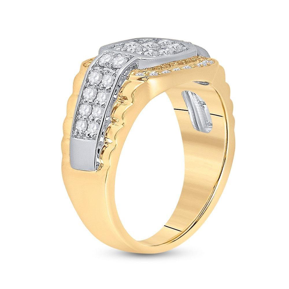 10kt Two-tone Gold Mens Round Diamond Ribbed Square Cluster Ring 1-1/4 Cttw