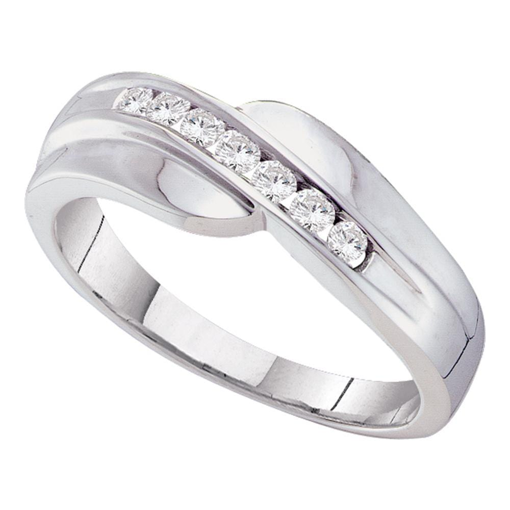 14kt White Gold Mens Round Channel-set Diamond Curved Wedding Band Ring 1/4 Cttw