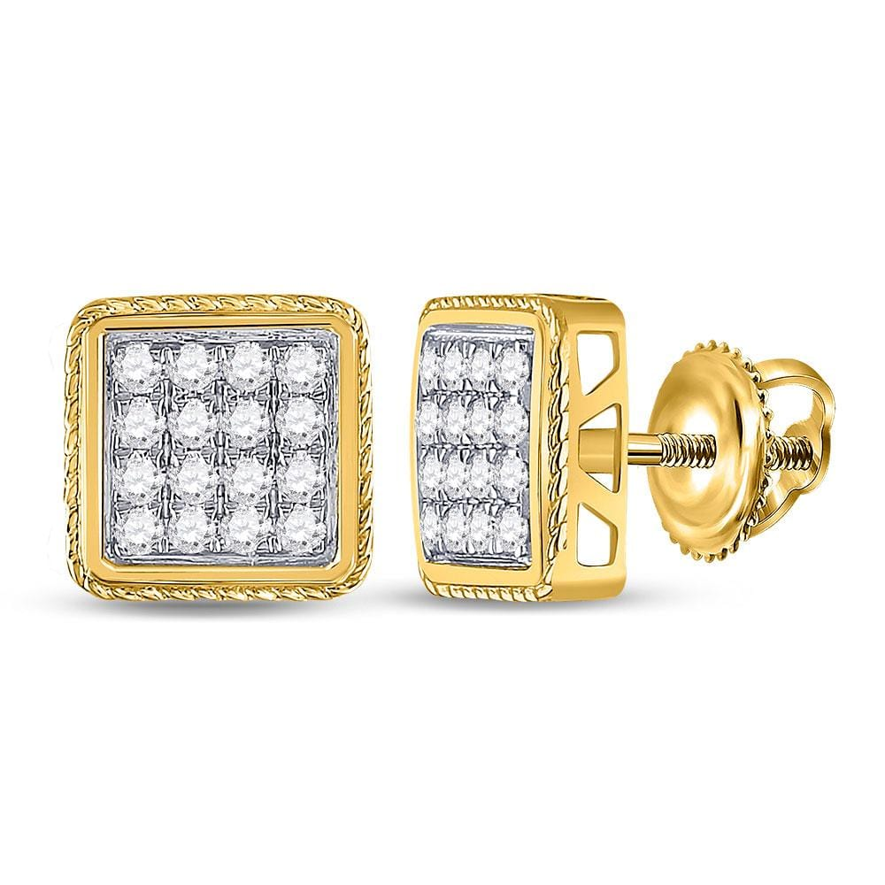14kt Yellow Gold Mens Round Diamond Square Cluster Earrings 1 Cttw