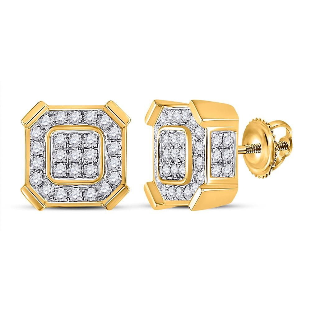 10kt Yellow Gold Mens Round Diamond Square Earrings 1 Cttw