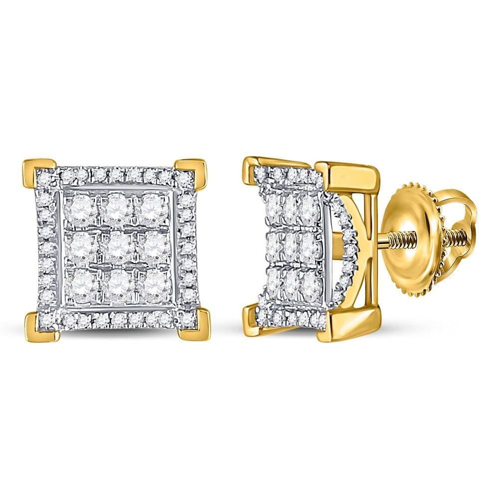 10kt Yellow Gold Mens Round Diamond Square Cluster Stud Earrings 3/4 Cttw