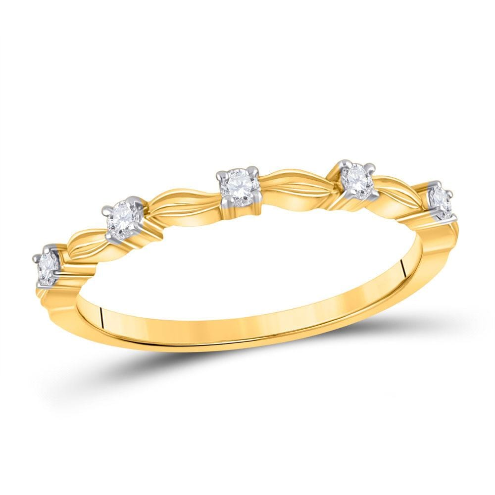 14kt Yellow Gold Womens Round Diamond 5-Stone Stackable Band Ring 1/10 Cttw
