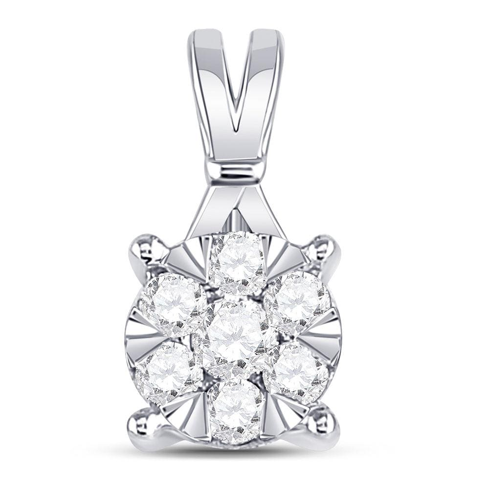 14kt White Gold Womens Round Diamond Flower Cluster Pendant 1/3 Cttw