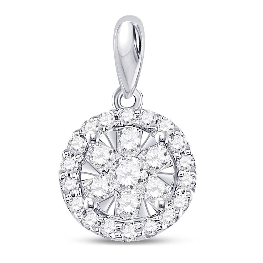 14kt White Gold Womens Round Diamond Circle Frame Flower Cluster Pendant 3/4 Cttw