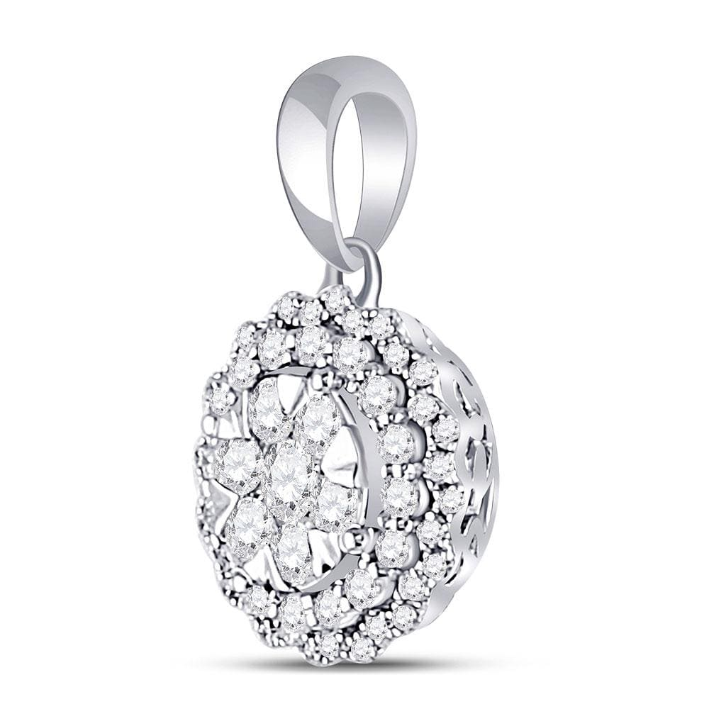 14kt White Gold Womens Round Diamond Flower Cluster Pendant 1/2 Cttw