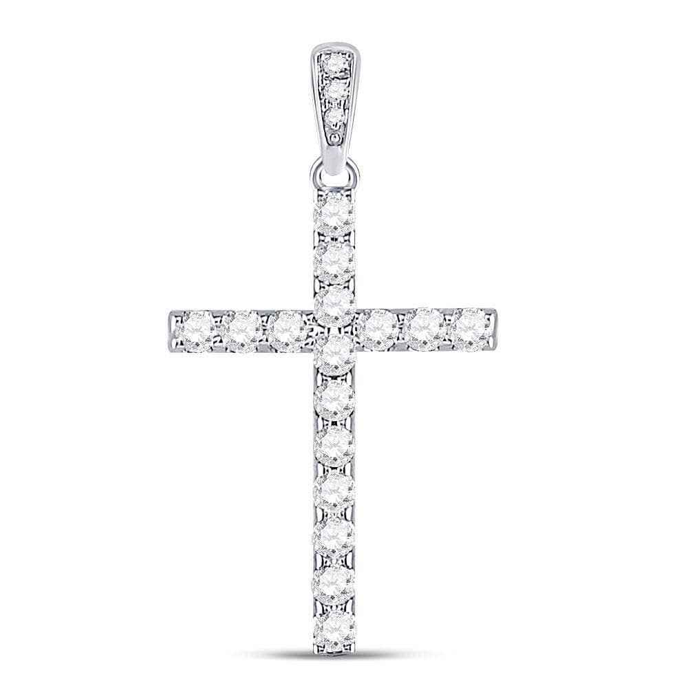 14kt White Gold Womens Round Diamond Cross Faith Pendant 1/4 Cttw