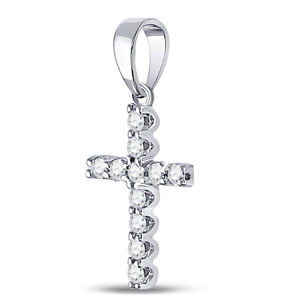 14kt White Gold Womens Round Diamond Cross Faith Pendant 1/5 Cttw