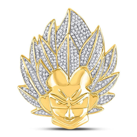 10kt Yellow Gold Mens Round Diamond Goku Dragon Ball Z Charm Pendant 3/4 Cttw