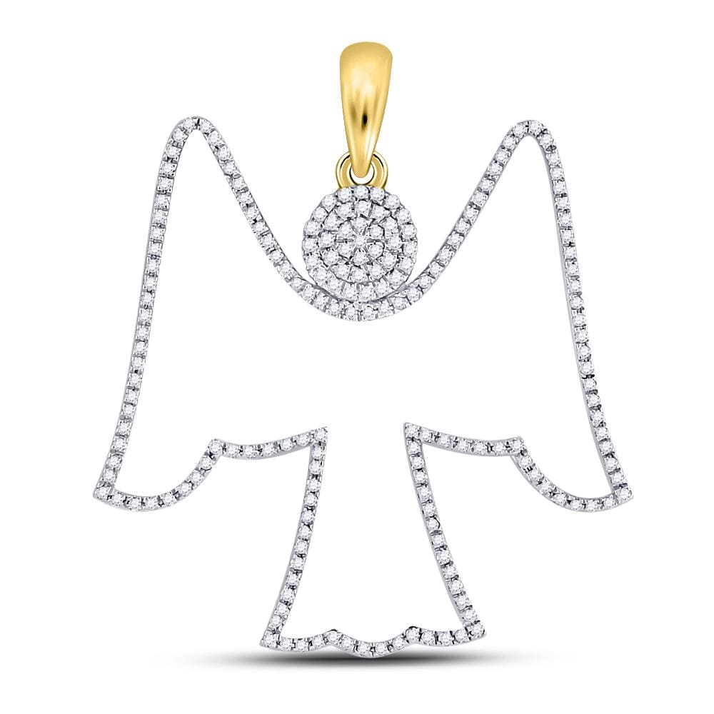 10kt Yellow Gold Mens Round Diamond Angel Outline Charm Pendant 5/8 Cttw