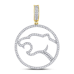 10kt Yellow Gold Mens Round Diamond Panther Charm Pendant 1/2 Cttw