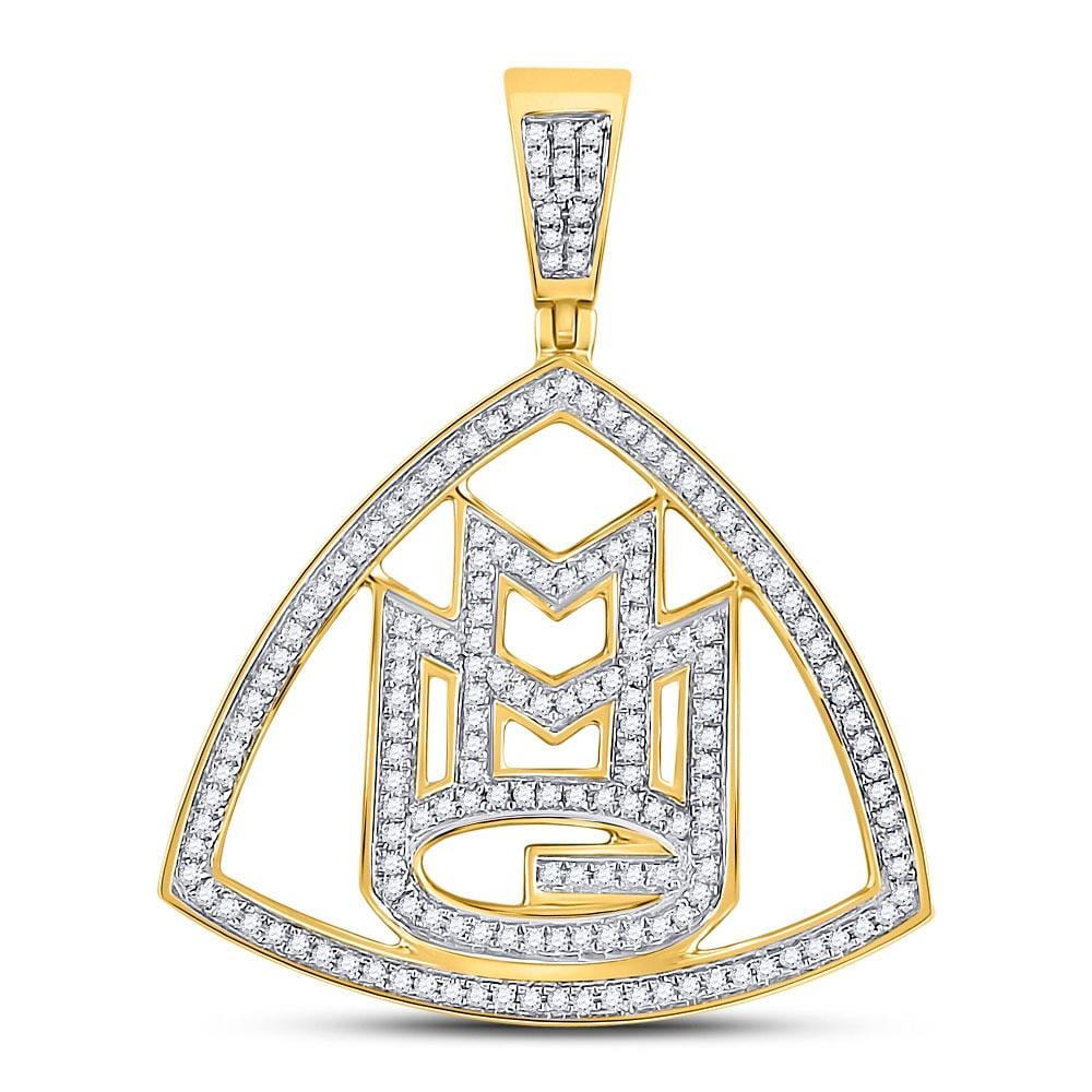 10kt Yellow Gold Mens Round Diamond Maybach Logo Charm Pendant 1/2 Cttw