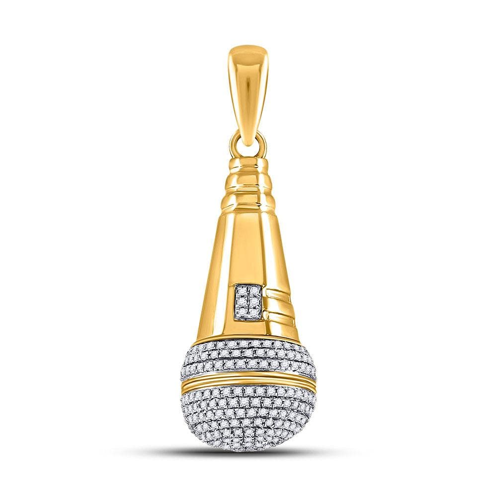 10kt Yellow Gold Mens Round Diamond Microphone Charm Pendant 1-1/5 Cttw