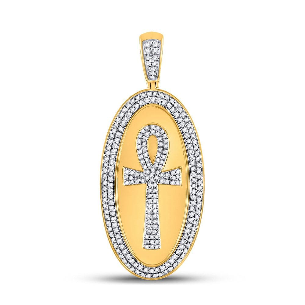 10kt Yellow Gold Mens Round Diamond Oval Ankh Cross Charm Pendant 2 Cttw