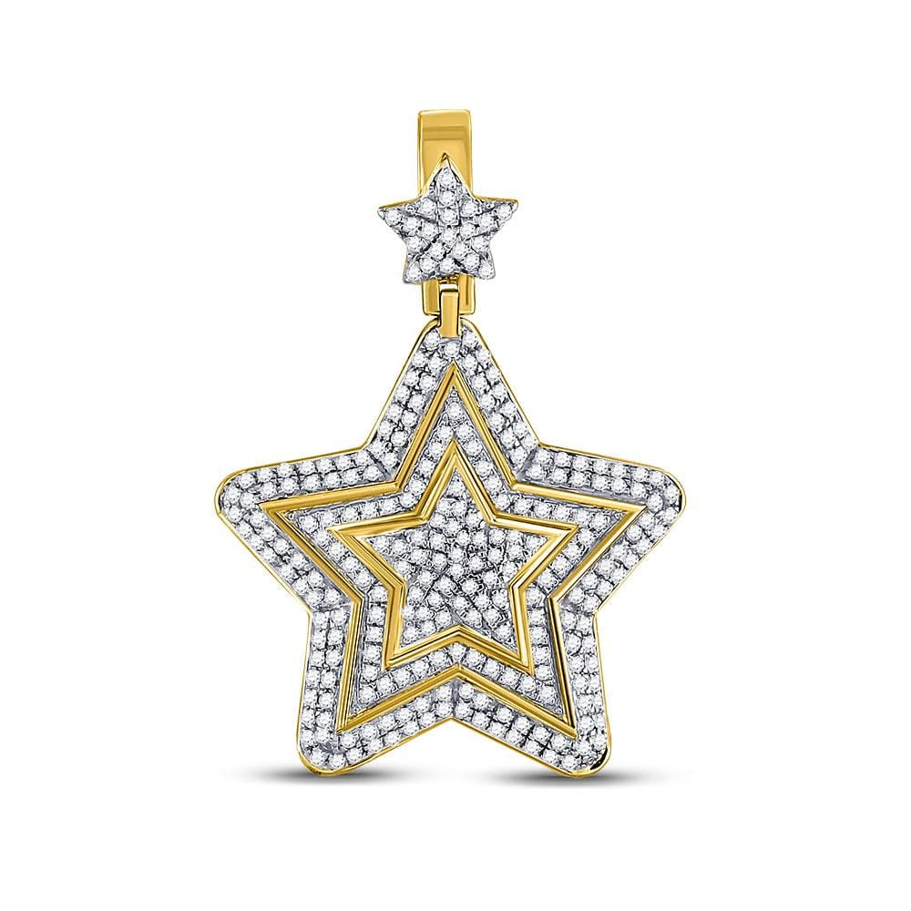 10kt Yellow Gold Mens Round Diamond Concentric Star Charm Pendant 1-3/4 Cttw