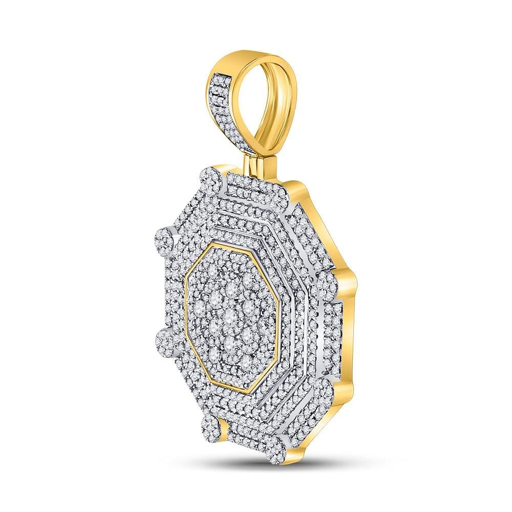 10kt Yellow Gold Mens Round Diamond Octagon Cluster Charm Pendant 3-7/8 Cttw