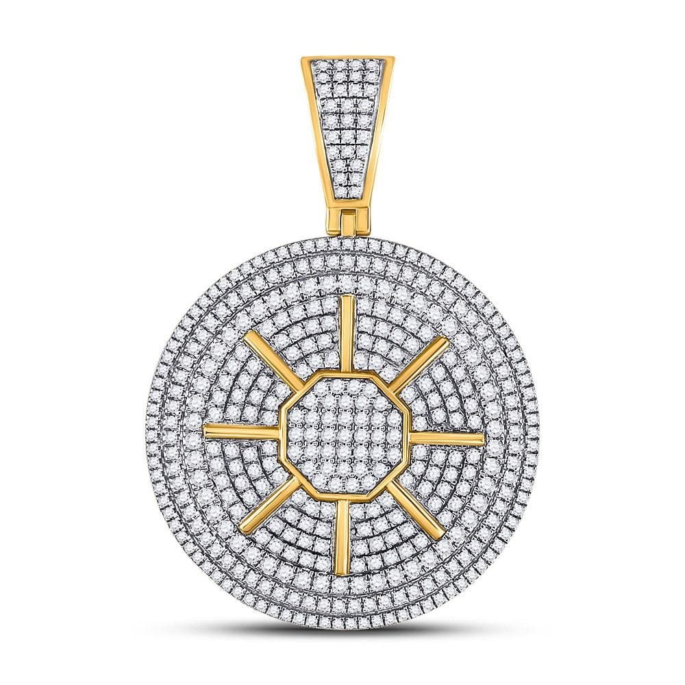10kt Yellow Gold Mens Round Diamond Circle Sun Charm Pendant 3-1/2 Cttw