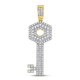 10kt Yellow Gold Mens Round Diamond Key Charm Pendant 5/8 Cttw