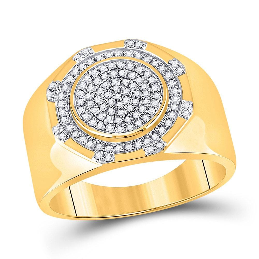 10kt Yellow Gold Mens Round Diamond Statement Cluster Ring 1/3 Cttw