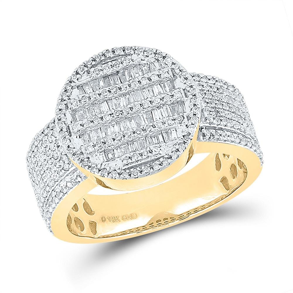 10kt Yellow Gold Mens Baguette Diamond Statement Cluster Ring 1 Cttw
