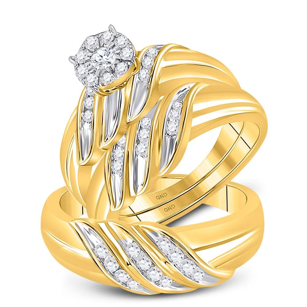 10kt Yellow Gold His Hers Round Diamond Solitaire Matching Bridal Wedding Ring Band Set 5/8 Cttw
