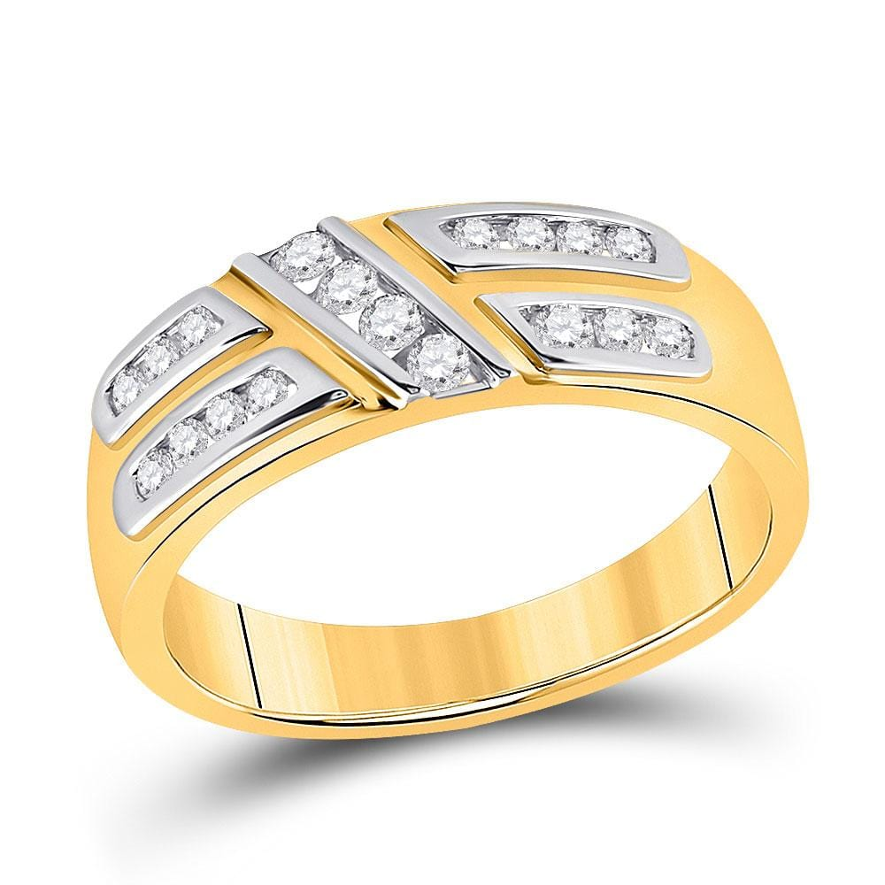 10kt Yellow Gold His Hers Round Diamond Solitaire Matching Wedding Set 1 Cttw