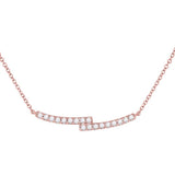 14kt Rose Gold Womens Round Diamond Double Bar Bypass Pendant Necklace 1/2 Cttw