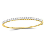 14kt Yellow Gold Womens Round Diamond Bangle Bracelet 3 Cttw